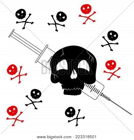 Pattern with the image of Jolly Roger with a syringe. Precaution from drugs. Vector illustration.