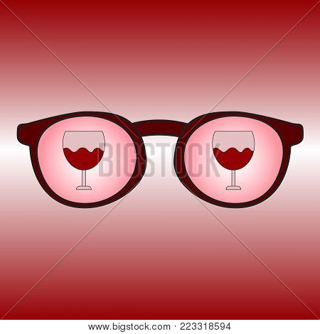 Glasses with reflection of a glass with wine. A simple icon indicating alcoholism. Vector illustration.