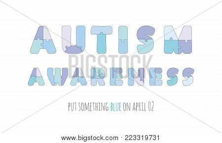 Autism awareness. Puzzle letters isolated on white. Vector