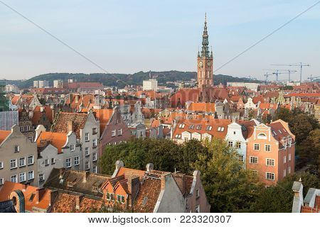 Old residential buildings and Main Town Hall's tower at the Main Town (Old Town) in Gdansk, Poland, viewed from above in the morning.