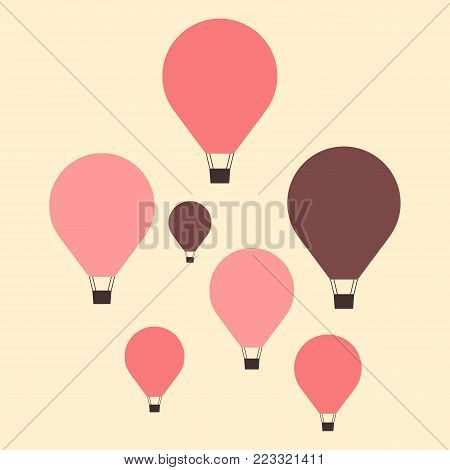 Set of colorful hot air balloon icon, minimal flat style. Vector illustration