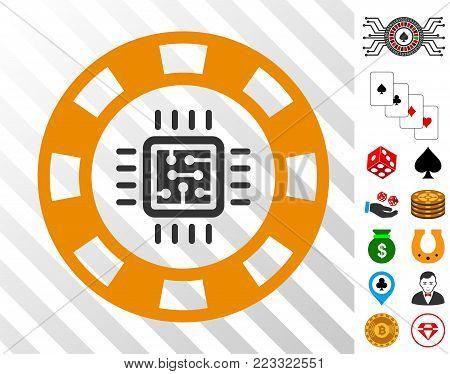 Cpu Casino Chip icon with bonus casino pictographs. Vector illustration style is flat iconic symbols. Designed for casino gui.