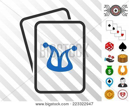 Joker Gambling Cards icon with bonus gambling pictographs. Vector illustration style is flat iconic symbols. Designed for gambling websites.