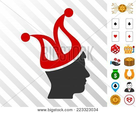 Joker Guy pictograph with bonus casino icons. Vector illustration style is flat iconic symbols. Designed for gamble apps. poster