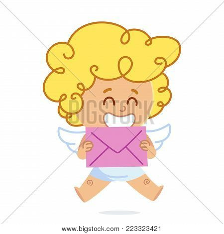 Vector illustration of Cupid, he has a letter