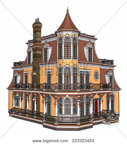 Old house in Victorian style. Illustration on white background. Species from different sides