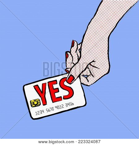 Marketing illustration. Customer want to buy and say yes. Illustration of a shopper, paying with the card. Sale and buy with a card. Image of a hand purchasing with credit card fom the  upper right corner of the picture.