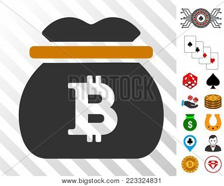 Bitcoin Money Bag icon with bonus gambling symbols. Vector illustration style is flat iconic symbols. Designed for casino apps.