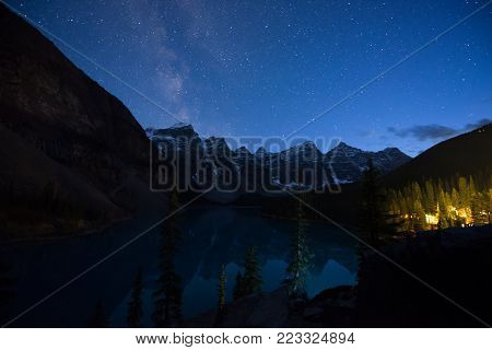 Milky way rising over Iconic Moraine Lake, Banff, Alberta, Canada