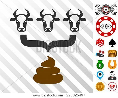 Cow Manure Aggregator Funnel pictograph with bonus gamble design elements. Vector illustration style is flat iconic symbols. Designed for gamble software.