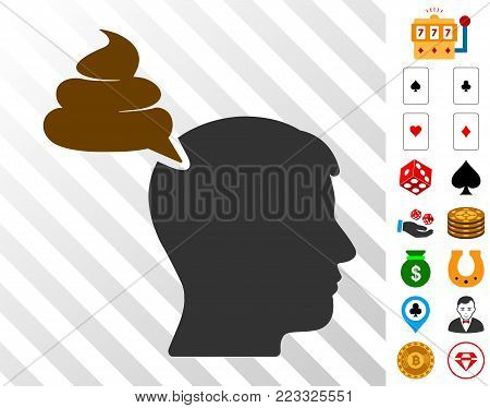 Crap Thinking Person pictograph with bonus gambling images. Vector illustration style is flat iconic symbols. Designed for gamble gui.