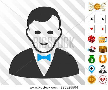 Croupier Manager icon with bonus gamble graphic icons. Vector illustration style is flat iconic symbols. Designed for casino websites.