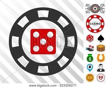 Dice Casino Chip pictograph with bonus casino pictographs. Vector illustration style is flat iconic symbols. Designed for casino ui.