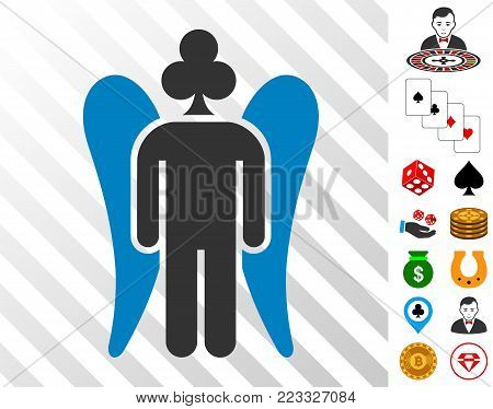 Gambling Angel pictograph with bonus gamble icons. Vector illustration style is flat iconic symbols. Designed for gamble websites.