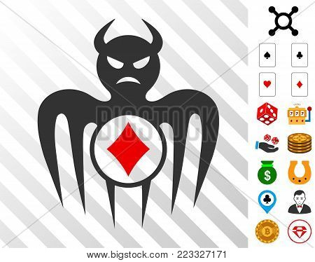 Gambling Spectre Devil icon with bonus gamble pictograms. Vector illustration style is flat iconic symbols. Designed for gamble gui.