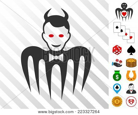 Gentleman Spectre Devil pictograph with bonus gamble icons. Vector illustration style is flat iconic symbols. Designed for gambling ui.