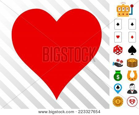 Hearts Suit icon with bonus gambling clip art. Vector illustration style is flat iconic symbols. Designed for gamble ui.