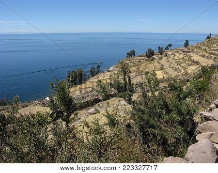 View of Lake Titicaca at over 3800 m from Taquile Island, Peru