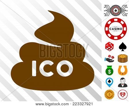 Ico Shit pictograph with bonus gambling symbols. Vector illustration style is flat iconic symbols. Designed for gamble apps.
