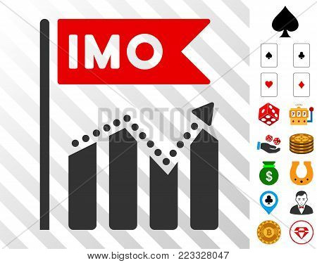 Imo Chart Trend icon with bonus gamble pictographs. Vector illustration style is flat iconic symbols. Designed for gambling apps.