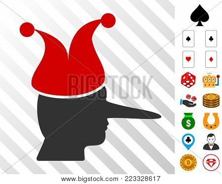 Joker pictograph with bonus gambling images. Vector illustration style is flat iconic symbols. Designed for gambling websites.