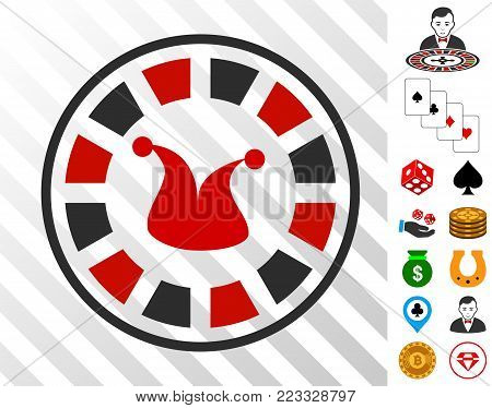 Joker Roulette icon with bonus gambling pictures. Vector illustration style is flat iconic symbols. Designed for gambling websites.
