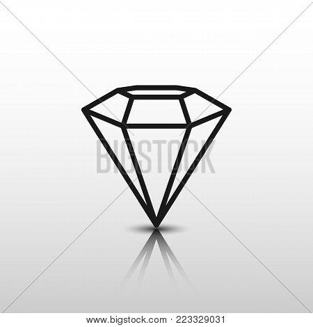Diamond flat design. Diamond flat Vector. Flat Icon diamond - stock vector
