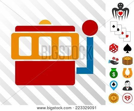 One-Armed Bandit pictograph with bonus gambling images. Vector illustration style is flat iconic symbols. Designed for casino ui.