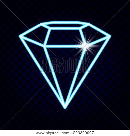 Diamond.Diamond neon Vector. Neon Icon - stock vector