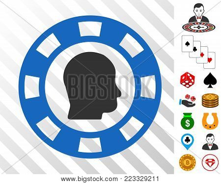 Personal Casino Chip pictograph with bonus gamble clip art. Vector illustration style is flat iconic symbols. Designed for gambling websites.