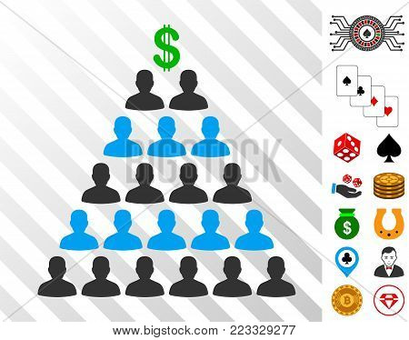Ponzi Pyramid Scheme icon with bonus gambling pictures. Vector illustration style is flat iconic symbols. Designed for gamble ui.