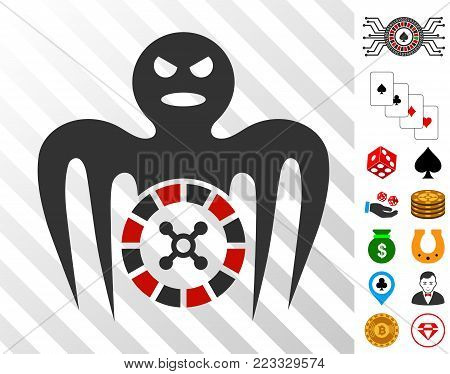 Roulette Spectre Monster icon with bonus casino pictograms. Vector illustration style is flat iconic symbols. Designed for gambling apps.