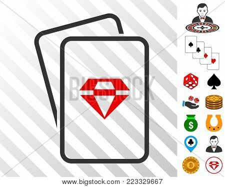 Ruby Gambling Cards pictograph with bonus gambling pictographs. Vector illustration style is flat iconic symbols. Designed for casino ui.