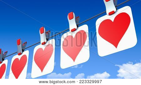 A 3D illustration of a row of paper Valentine's Day hearts hanging by clips from a wire, or line, viewed from the right-hand side