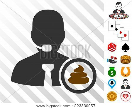 Shit Operator pictograph with bonus gamble design elements. Vector illustration style is flat iconic symbols. Designed for gambling websites.