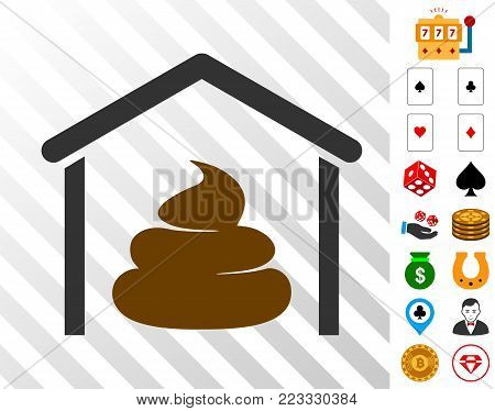 Shit Storage Hangar pictograph with bonus gambling symbols. Vector illustration style is flat iconic symbols. Designed for gamble apps.