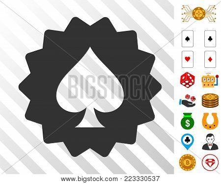 Spades Token icon with bonus gambling clip art. Vector illustration style is flat iconic symbols. Designed for gamble ui.