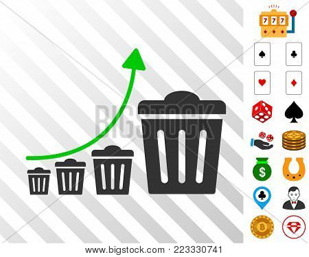 Trash Growing Trend pictograph with bonus gamble clip art. Vector illustration style is flat iconic symbols. Designed for gambling websites.