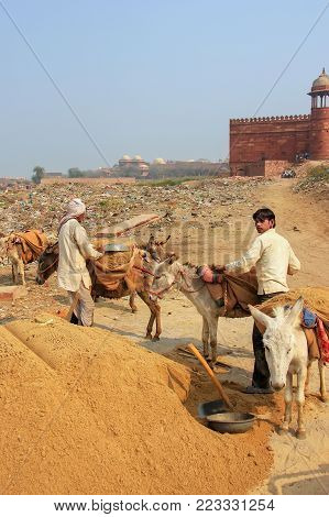 Fatehpur Sikri, India-january 30: Unidentified Men Stand With Donkeys Outside Jama Masjid On January