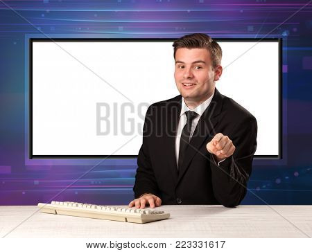 Television program host with big copy screen in his back concept