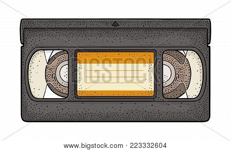 Retro tape video cassette. Vintage vector color engraving illustration for poster, web. Isolated on white background. Hand drawn design element