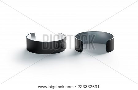 Blank large black cuff bracelet mockup, front and back side view, 3d rendering. Clear wrist band design mock ups. Fashion grey sweatband template. Women glamour round armlet steel wristband