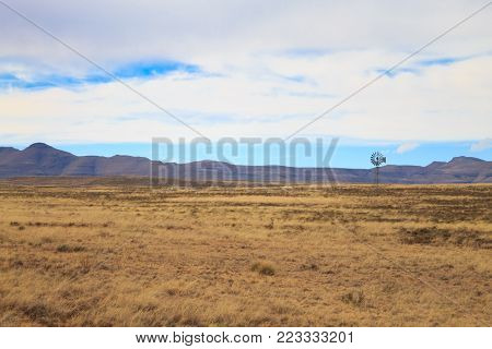 Landscape from Orange Free State. On the road to Karoo, South Africa. African landscape. Travel background