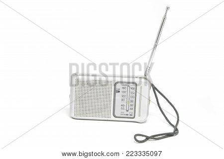 Vintage  Transistor Radio Isolated On White Background