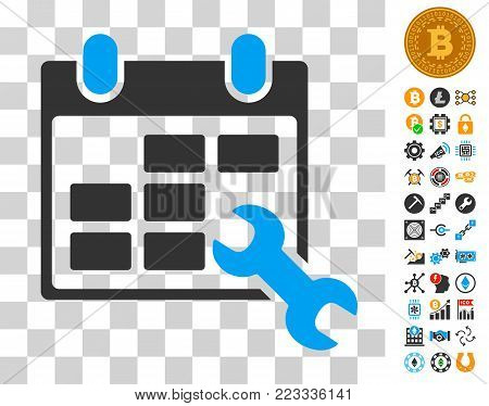 Configure Timetable icon with bonus bitcoin mining and blockchain design elements. Vector illustration style is flat iconic symbols. Designed for crypto currency software.
