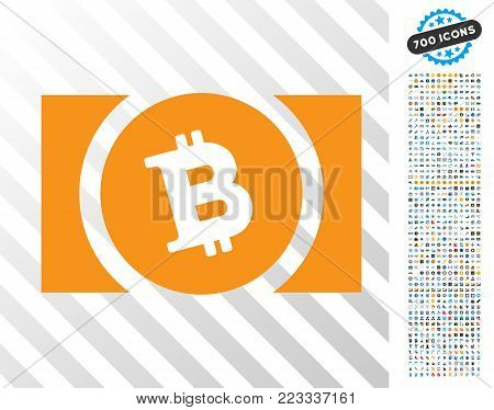 Bitcoin Cash pictograph with 7 hundred bonus bitcoin mining and blockchain pictographs. Vector illustration style is flat iconic symbols designed for cryptocurrency software.