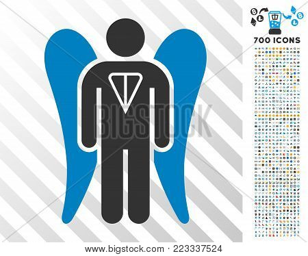 Ton Angel Investor pictograph with 700 bonus bitcoin mining and blockchain design elements. Vector illustration style is flat iconic symbols designed for blockchain apps. poster