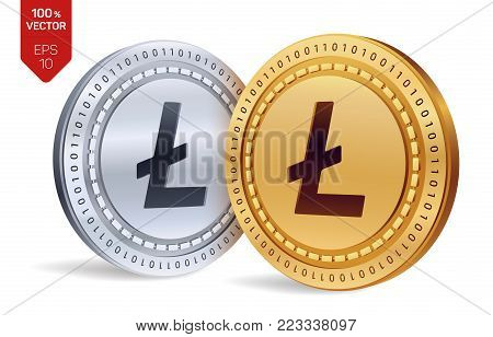 Litecoin. 3D isometric Physical coins. Digital currency. Cryptocurrency. Golden and silver coins with litecoin symbol isolated on white background. Vector illustration
