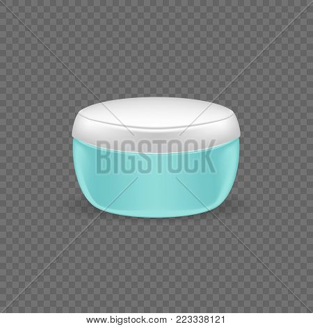 Realistic cosmetic bottles. Fragrant face cream, in beautiful plastic jar, with plastic lid. Care of female beauty. Sun protection. Realistic mock-up, transparent. Illustration isolated.
