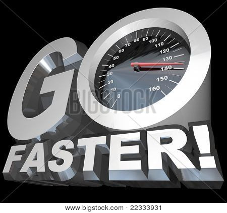 A speedometer with needle racing into high speeds appears in the words Go Faster to symbolize the need to accelerate for success in business or competitve sport